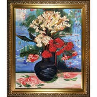 Vincent Van Gogh 'Vase with Carnations and Other Flowers' Hand-painted Framed Canvas Art