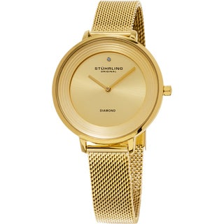 Stuhrling Original Women's Symphony Quartz Diamond Gold Tone Mesh Band Watch