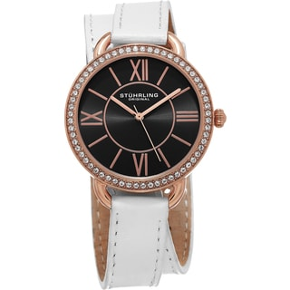 Stuhrling Original Women's Deauville Sport Quartz Crystal White Double Wrap Leather Strap Watch