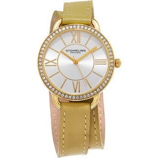 Stuhrling Original Women's Deauville Sport Quartz Crystal Gold Tone Double Wrap Leather Strap Watch