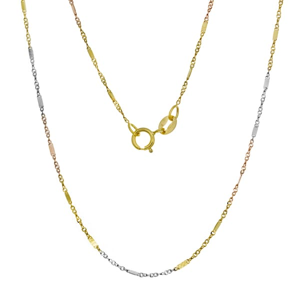 14K Tri-color Gold Bar Link Chain (16-20 inches) - Multi