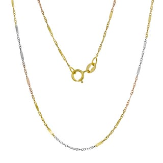 14K Tri-color Gold Bar Link Chain (16-20 inches)