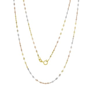 14K Tri-color Gold Italian Sun Link Chain (16-20 inches )