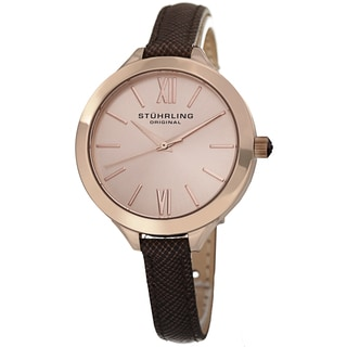 Stuhrling Original Women's Vogue Quartz Brown Leather Strap Watch