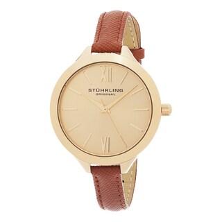 Stuhrling Original Women's Vogue Quartz Brown Leather Strap Watch