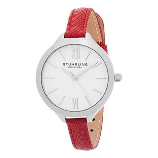 Stuhrling Original Women's Vogue Quartz Red Leather Strap Watch
