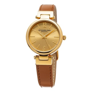 Stuhrling Original Women's Classique Quartz Brown Leather Strap Watach