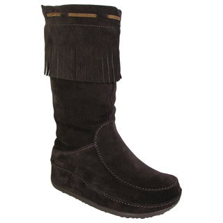 25606b7642d4a Shop Fitflop Womens Superfringe Mukluk Suede Boots - Free Shipping Today -  Overstock - 11079207