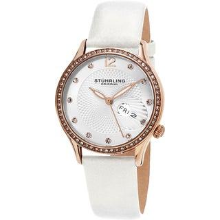 Stuhrling Original Women's Symphony Quartz Crystal White Satin Covered Leather Strap Watch
