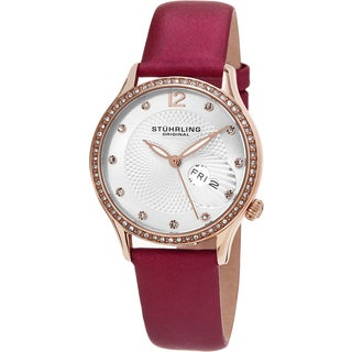 Stuhrling Original Women's Symphony Quartz Crystal Pink Satin Covered Leather Strap Watch