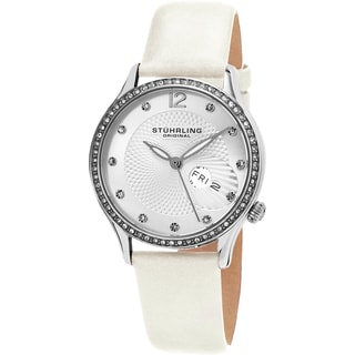 Stuhrling Original Women's Symphony Quartz Crystal Champagne Satin Covered Leather Strap Watch