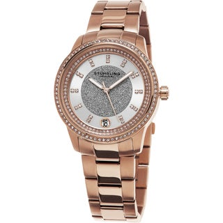 Stuhrling Original Women's Vogue Quartz Crystal Rose Tone Bracelet Watch