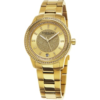 Stuhrling Original Women's Vogue Quartz Crystal Gold Tone Bracelet Watch