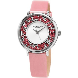 Stuhrling Original Women's Vogue Quartz Crystal Pink Satin Covered Leather Strap Watch