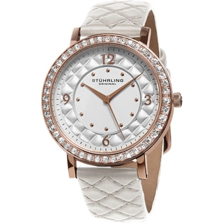 Stuhrling Original Women's Audrey Quartz Crystal White Quilted Leather Strap Watch