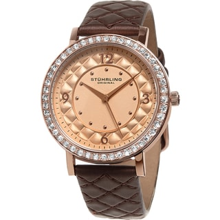 Stuhrling Original Women S Audrey Quartz Crystal Brown Quilted Leather Strap Watch
