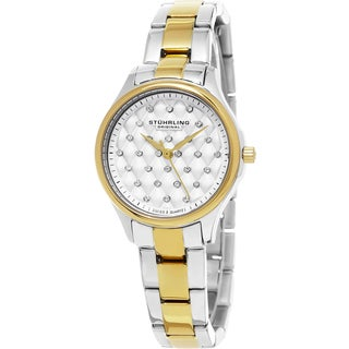Stuhrling Original Women's Audrey Swiss Quartz Crystal Stainless Steel Two Tone Bracelet Watch