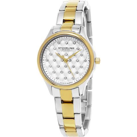Stuhrling Original Women's Audrey Swiss Quartz Crystal Stainless Steel Two Tone Bracelet Watch