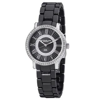 Stuhrling Original Women's Fusion Swiss Quartz Crystal Black Ceramic Bracelet Watch