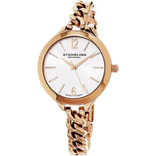 Stuhrling Original Women's Vogue Swiss Quartz Rose Tone Bracelet Watch