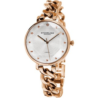 Stuhrling Original Women's Vogue Quartz Diamond Rose Tone Bracelet Watch