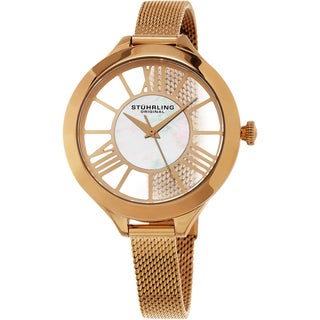 Stuhrling Original Women's Winchester Quartz Rose Tone Mesh Band Watch
