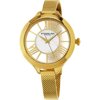 Stuhrling Original Women's Winchester Quartz Gold Tone Mesh Band Watch