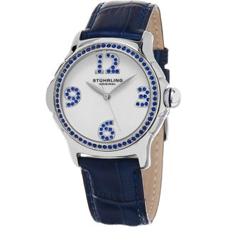 Stuhrling Original Women's Chic Quartz Crystal Blue Leather Strap Watch