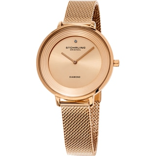 Stuhrling Original Women's Symphony Quartz Diamond Rose Tone Mesh Band Watch