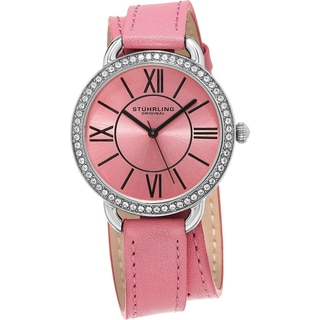 Stuhrling Original Women's Deauville Sport Quartz Crystal Pink Double Wrap Leather Strap Watch