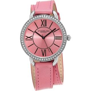 Stuhrling Original Women's Deauville Sport Quartz Crystal Pink Double Wrap Leather Strap Watch