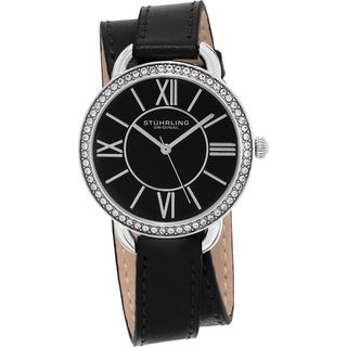 Stuhrling Original Women's Deauville Sport Quartz Crystal Black Double Wrap Leather Strap Watch