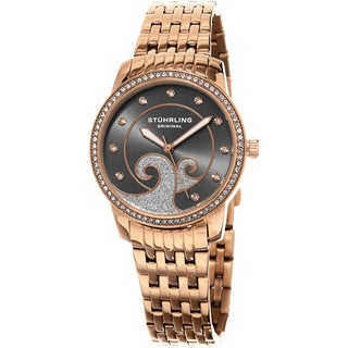 Stuhrling Original Women's Coronet Quartz Crystal Rose Tone Bracelet Watch