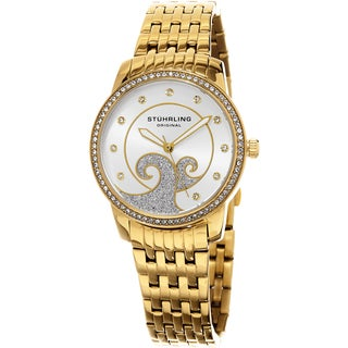 Stuhrling Original Women's Coronet Quartz Crystal Gold Tone Bracelet Watch