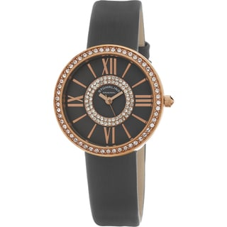 Stuhrling Original Women's Chic Quartz Crystal Grey Satin Twill Covered Leather Strap Watch