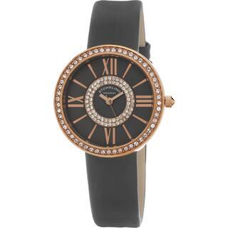 Stuhrling Original Women's Chic Quartz Crystal Grey Satin Twill Covered Leather Strap Watch|https://ak1.ostkcdn.com/images/products/11079279/P18087554.jpg?impolicy=medium