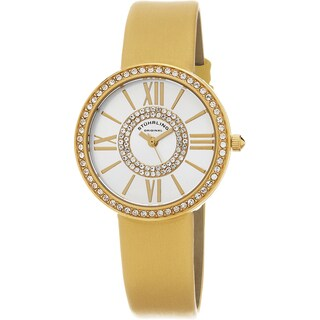 Stuhrling Original Women's Chic Quartz Crystal Yellow Satin Twill Covered Leather Strap Watch