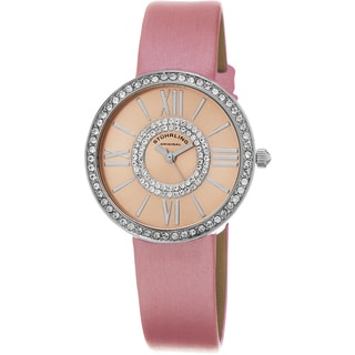 Stuhrling Original Women's Chic Quartz Crystal Pink Satin Twill Covered Leather Strap Watch