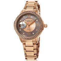 Stuhrling Original Women's Perle Automatic Open Heart Crystal Rose Tone Bracelet Watch