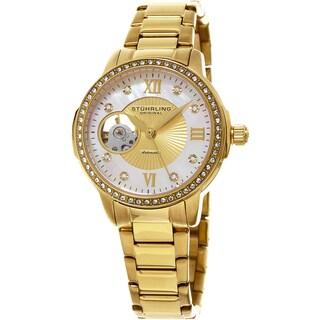 Stuhrling Original Women's Perle Automatic Open Heart Crystal Gold Tone Bracelet Watch