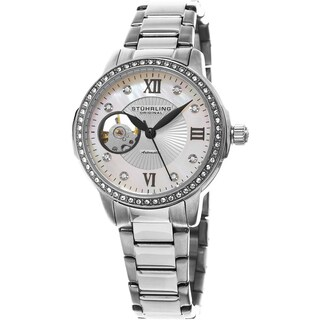 Stuhrling Original Women's Perle Automatic Skeletion Open Heart Crystal Watch with Stainless Steel Bracelet