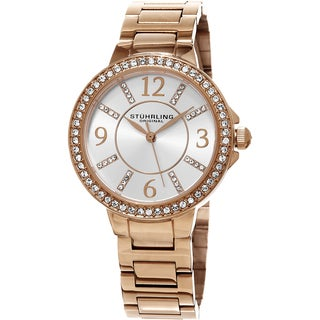 Stuhrling Original Women's Allure Quartz Crystal Roe Tone Bracelet Watch