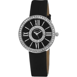 Stuhrling Original Women's Chic Quartz Crystal Black Satin Twill Covered Leather Strap Watch