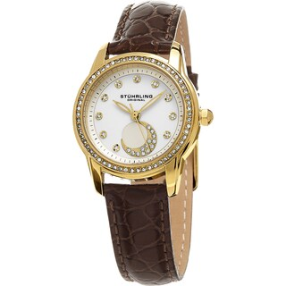 Stuhrling Original Women's Luna Quartz Crystal Brown Leather Strap Watch
