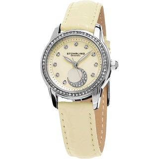 Stuhrling Original Women's Luna Quartz Crystal Beige Leather Strap Watch