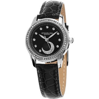 Stuhrling Original Women's Luna Quartz Crystal Black Leather Strap Watch