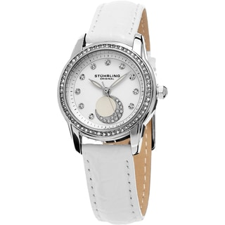 Stuhrling Original Women's Luna Quartz Crystal White Leather Strap Watch