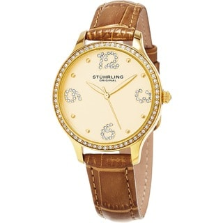 Stuhrling Original Women's Chic Quartz Crystal Brown Leather Strap Watch