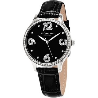 Stuhrling Original Women's Chic Quartz Crystal Black Leather Strap Watch