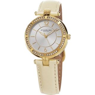 Stuhrling Original Women's Serena Quartz Cystal Beige Leather Strap Watch